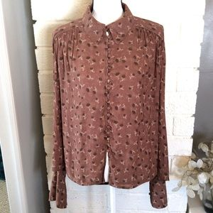Free People Button Down Modern Muse Retro Top